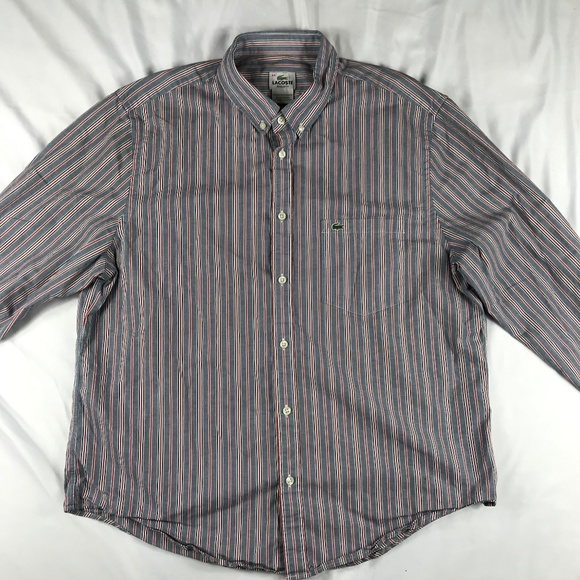 d898a0b4a3 LACOSTE Mens 44 XL Striped Button Up Long Sleeve